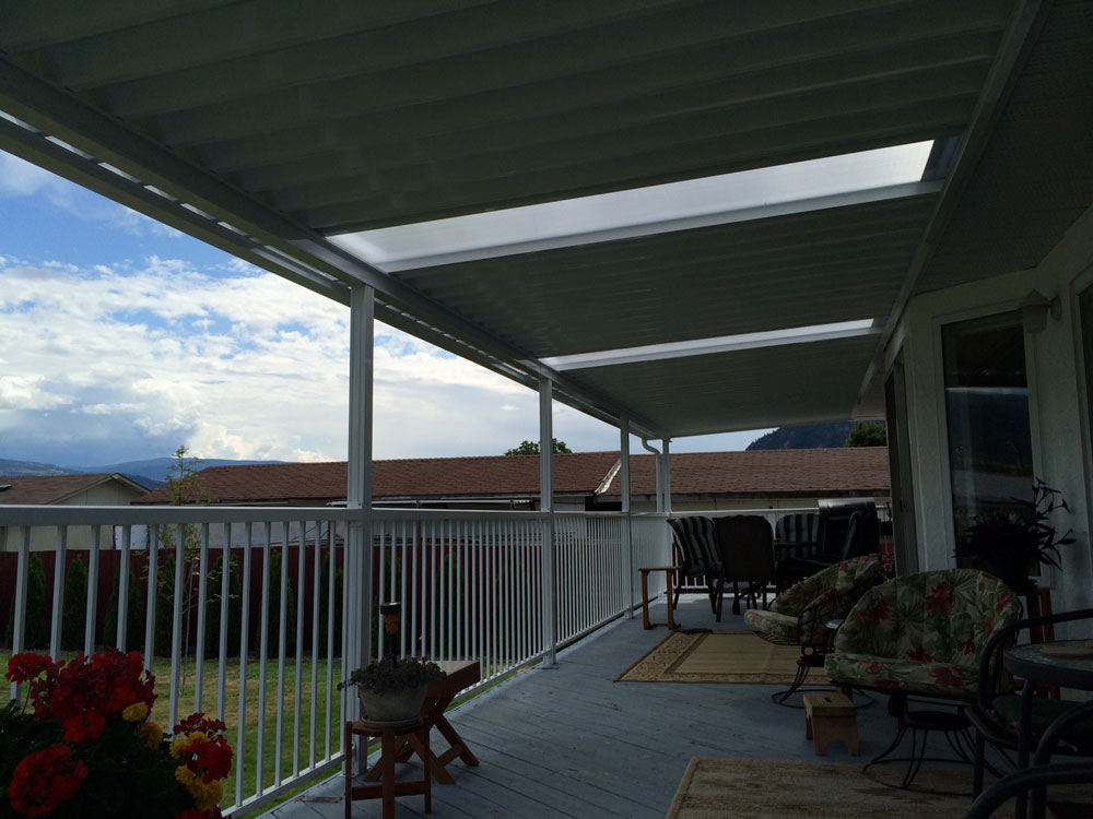 Deck Cover With Matching Railings. Commercial Patio Cover Application